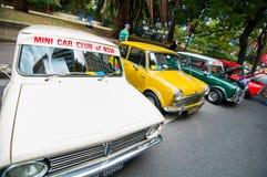 Mini Cooper classique de mini club de voiture de NSW dans les salons automobiles classiques le jour 2013 d'Australie Images libres de droits