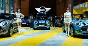 Mini Cooper Exhibit-cabine stock afbeeldingen