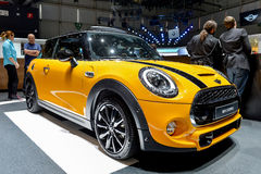 Mini Cooper at the 2014 Geneva Motorshow. The new Mini Cooper at the 2014 Geneva Motorshow Royalty Free Stock Image