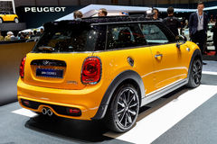 Mini Cooper at the 2014 Geneva Motorshow. The new Mini Cooper at the 2014 Geneva Motorshow Royalty Free Stock Photo