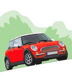 Mini Cooper Illustration. A vector illustration of a European Mini Cooper turning a corner Stock Photos