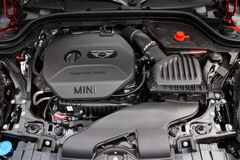 Mini Cooper new engine room stock photos