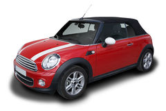 Mini Cooper. Red Mini Cooper Convertible car parked isolated on white background royalty free stock image