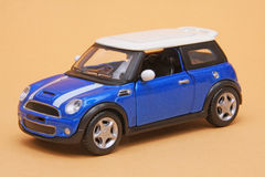 Mini Cooper S. BMW Mini Cooper S, Maisto Fresh Metal 1:36 scale diecast, left front view Royalty Free Stock Images
