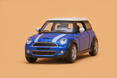 Mini Cooper S. BMW Mini Cooper S, Maisto Fresh Metal 1:36 scale diecast, front left view Royalty Free Stock Image