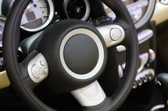 Mini cooper s car steering wheel Royalty Free Stock Images