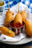 Mini corn dog.style rustic. Stock Photo