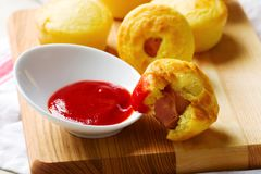 Mini corn dog.style rustic. Stock Photos