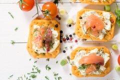 Mini crackers sandwiches Stock Image