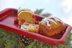 Mini cranberry cakes with holiday evergreens Stock Photo