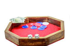 Mini Crap Table Chips Dice Money Royalty Free Stock Photography