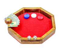 Portable Crap Table Chips Dice Money. Picture of a portable miniature crap table complete with glittered felt, money chips, dice, 100 or one hundred dollar bills Stock Images