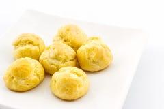 Mini Cream Puffs fresco doce, Profiterole, Choux, Eclair imagem de stock