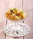 Mini crescents rolls in a vase Royalty Free Stock Photography