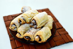 Mini croissant. Filled with chocolate Stock Image