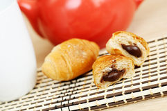 Mini croissants with chocolate Stock Images