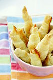 Mini croissants in a pink bowl Stock Images