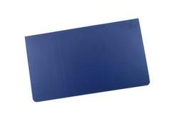 Mini cuaderno largo azul de la forma de la página de cubierta Fotografía de archivo