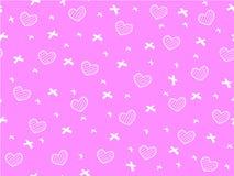Mini cuore e nastro sul rosa Fotografie Stock