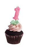 Mini cupcake with birthday candle for one year old Royalty Free Stock Images