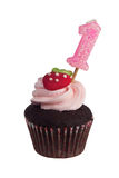 Mini cupcake with birthday candle for one year old Royalty Free Stock Photography
