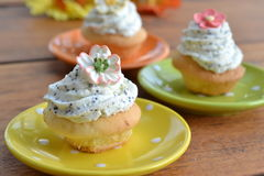 Mini cupcakes with poppy sees frosting. Mini cupcakes with poppy seed frosting and sugar flowers Stock Images