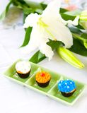 Mini cupcakes with sugar frosting Stock Photo