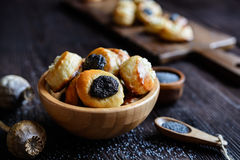 Mini curd and poppy seeds pies. Small pies with curd and poppy seeds topping stock photos