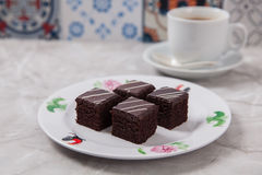 Mini czekoladowi torty obrazy stock