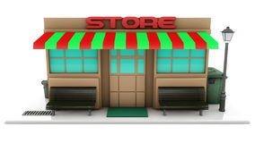 Mini 3d store. And white background Stock Photography