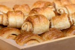 Mini danish rolls in basket Stock Photos