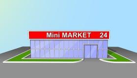 Mini de voorgeveldetailhandel van de marktwinkel 24 uren Stock Fotografie