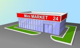 Mini de voorgeveldetailhandel van de marktwinkel 24 uren Royalty-vrije Stock Foto