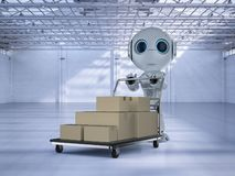 Mini delivery robot with trolley. 3d rendering mini delivery robot with cardboard boxes on trolley royalty free illustration