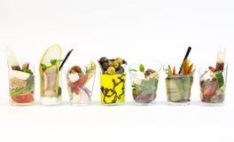 Mini dessert e canape della carne di verdure Fotografia Stock Libera da Diritti
