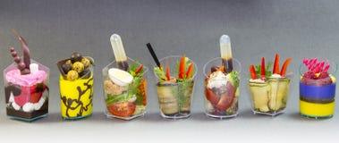 Mini dessert e canape della carne di verdure Fotografia Stock