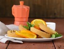 Mini dessert tarts with orange Stock Photos