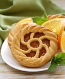 Mini dessert tarts with orange Stock Photography