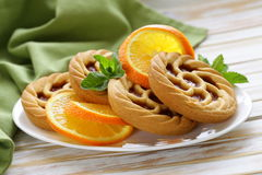 Mini dessert tarts with orange Stock Image