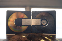 Mini disc vintage. Optical support stock photography