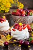 Mini dolce delizioso della meringa di Pavlova decorato con berrie fresco fotografia stock libera da diritti