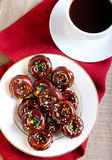 Mini donuts coated with chocolate Stock Image