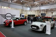 Mini 5 Door at SIAB 2018, Romexpo, Romania. Mini is the name of the BMW subsidiary in Cowley, England, and the car produced by this subsidiary in April 2001 Stock Photos