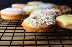 Mini Doughnut Cakes cuit au four par maison avec arrose sur le support de refroidissement Photo stock