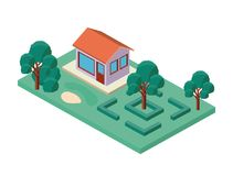 Mini drzewo i domowy isometric Zdjęcia Stock