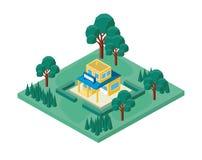 Mini drzewo i sklepu budynek isometric Zdjęcie Royalty Free
