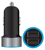 Mini Dual USB Car Charger. USB equipment for conversion and connection of electronic devices in the car Stock Photo