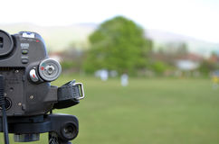 Mini Dv Camera Recording Soccer Match Royalty Free Stock Photos