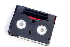 Mini Dv cassette isolated on white stock photos