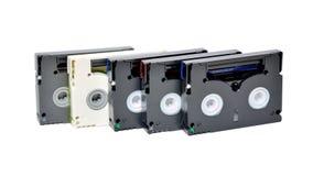 Mini DV cassettes. On white background Royalty Free Stock Photo